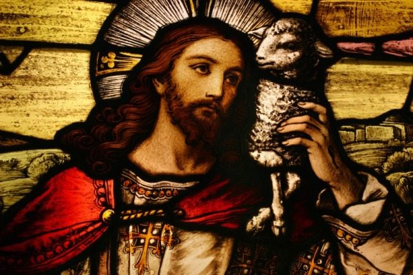 Stained glass depicting Jesus holding a lamb