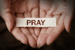 Pray text on hand design concept